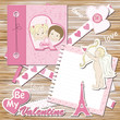 Valentine greeting scrapbook card on a wood background