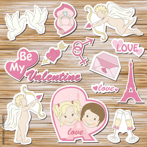 Happy valentine`s day, set on a wood background