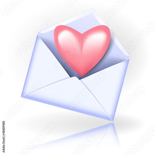 Envelope with valentine heart