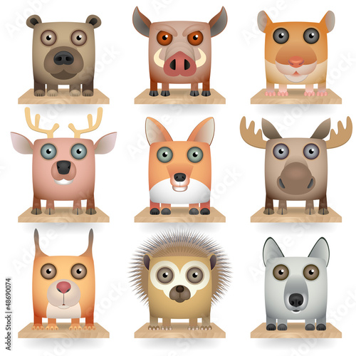 Wild animals icon set. Forest Animals