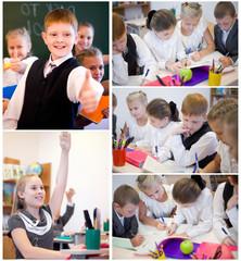 Cheerful schoolchildren