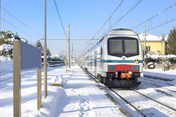 Electric train in the snow