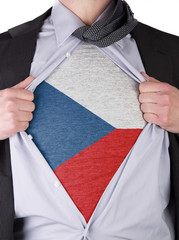 Business man with Czechian flag t-shirt