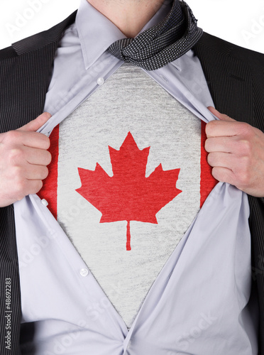Business man with Canadian flag t-shirt