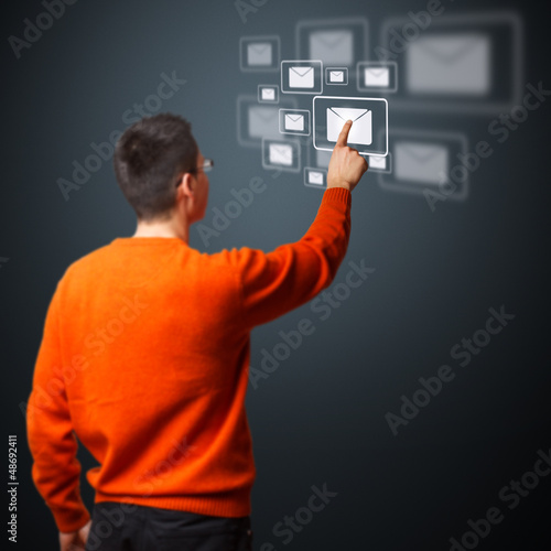 Man pressing messaging type