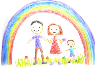 kids drawing happy family