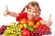 Child with group fruit and vegetable.