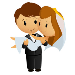 Cartoon groom carrying bride