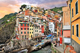 scenic Italy. Riomaggiore village, Cinque terre