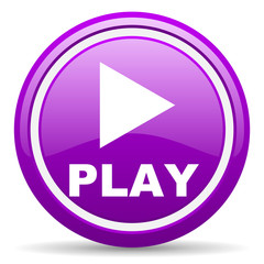 play violet glossy icon on white background