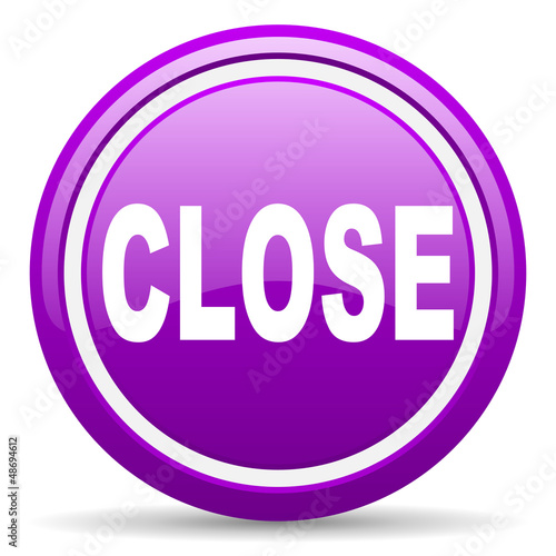 close violet glossy icon on white background