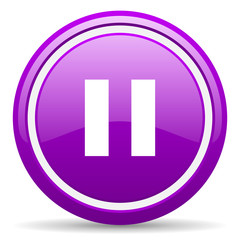 pause violet glossy icon on white background