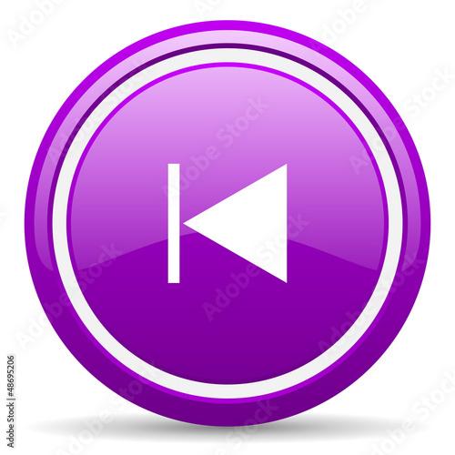 prev violet glossy icon on white background