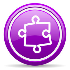 puzzle violet glossy icon on white background