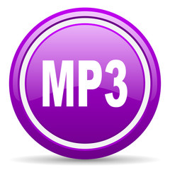 mp3 violet glossy icon on white background