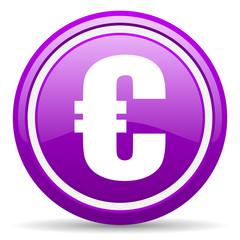 euro violet glossy icon on white background