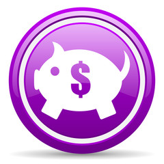 piggy bank violet glossy icon on white background