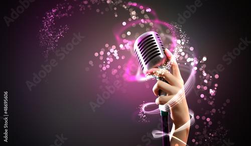 Leinwanddruck Bild audio microphone retro style