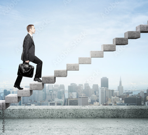 stepping up a staircase