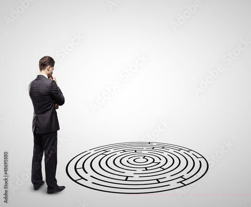 businessman  and labyrinth