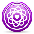 atom violet glossy icon on white background