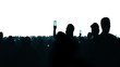 Menschen silhouetten mit smartphone screens