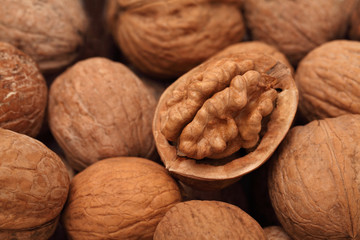 Close up view on walnuts