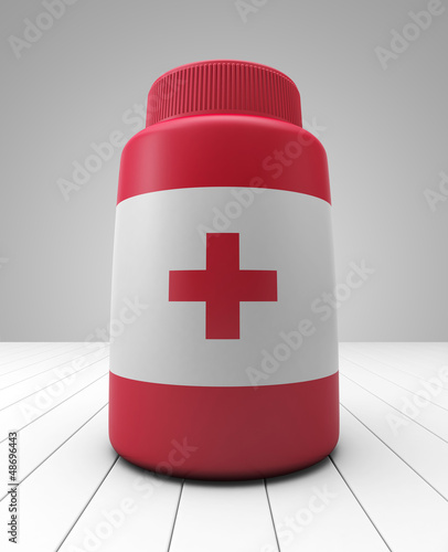 Red medicine bottle with red cross
