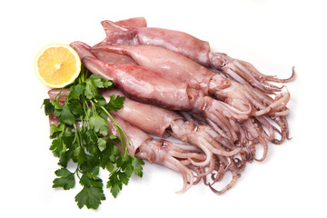 a group of fresh squid with lemon and parsley