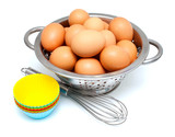 eggs, whisk and cupcake liners