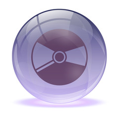 3D glass sphere and music cd icon