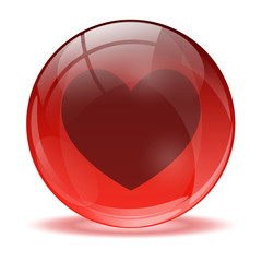 3D glass sphere and heart icon