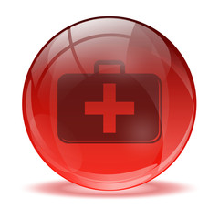3D glass sphere and medkit icon