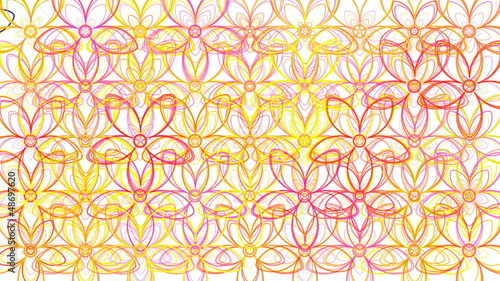 Flower Power Outlines Loop  - White Background