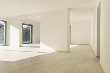 modern architecture, new empty apartment, wide room