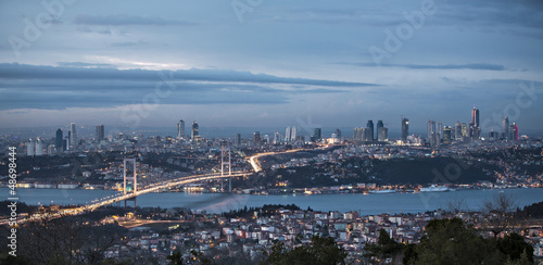 Bosphorus and bridge at night, Istanbul