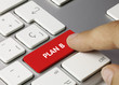 Plan B keyboard key. Finger