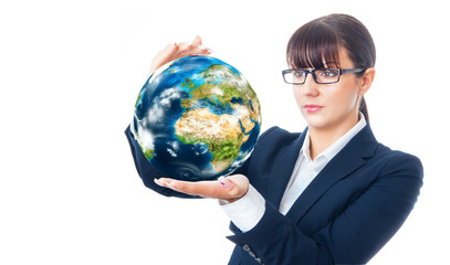 Woman holding the world in her hands, isolated on white