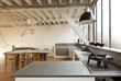 interior, beautiful kitchen of an old loft