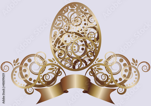 Easter egg with floral elements, vector illustration