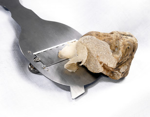 Slicing a white truffle