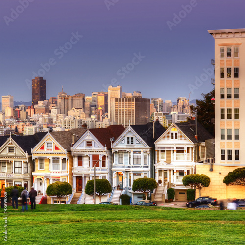 Alamo Square at twilight