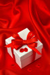 gift box with bow ribbon and petals of roses flower