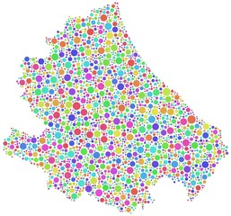 Map of Abruzzo - Italy - in a mosaic of harlequin bubbles