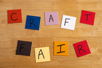 'Craft Fair' in words on color tiles for arts and craft.