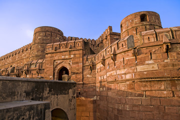 Agra Fort gate at sunset