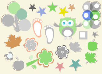 set of nature element for design - owls, legs, flowers, trees