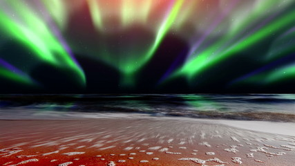 sea waves and the northern lights