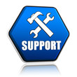support and tools sign in hexagon button