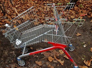 Einkaufswagen zerstört